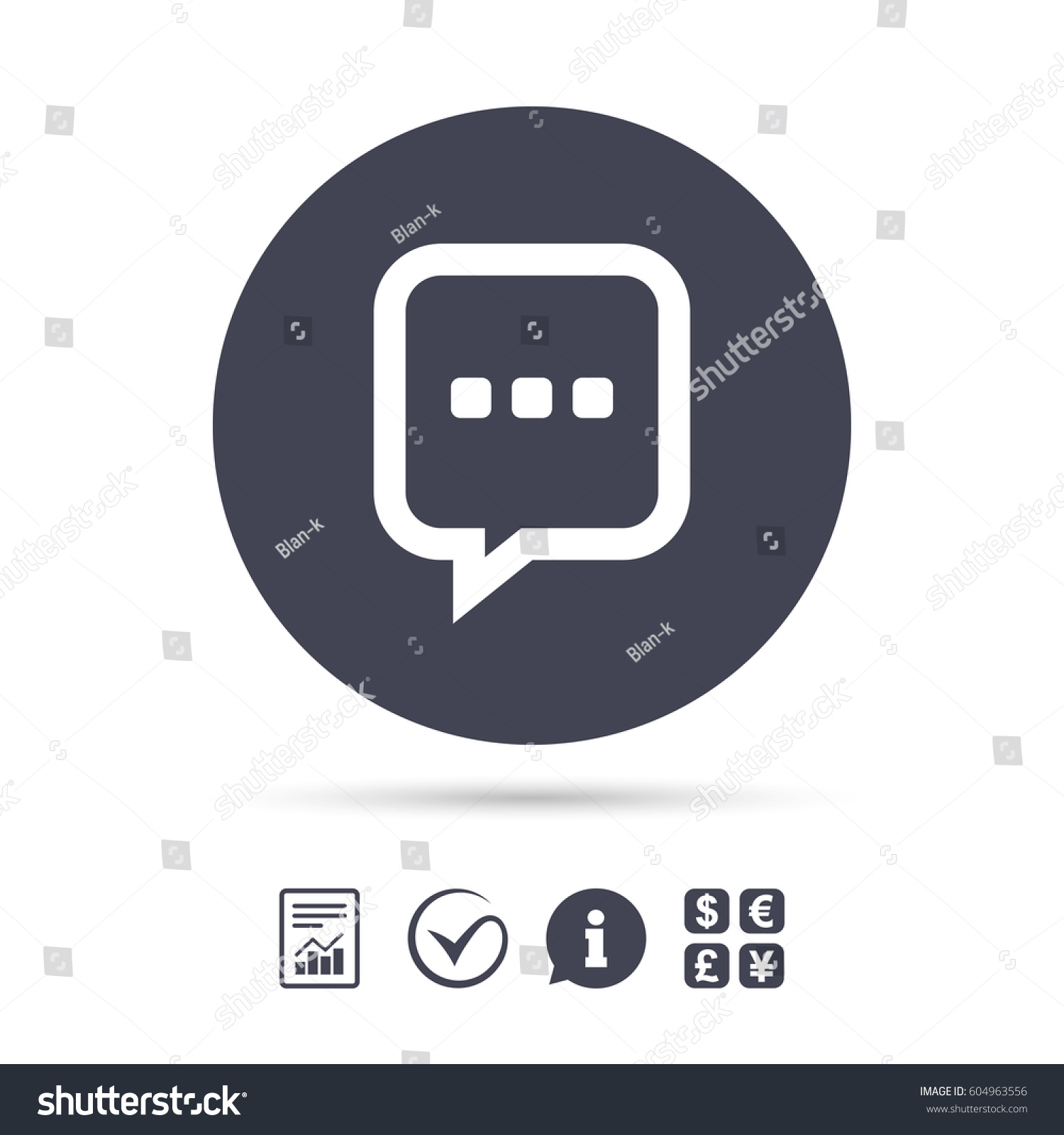 Chat sign icon speech bubble three stock vector 604963556 speech bubble with three dots symbol communication chat bubble report biocorpaavc