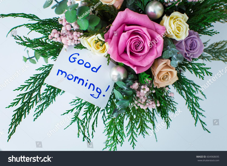 Good Morning Greeting Beautiful Bouquet Flowers Stock Photo Edit