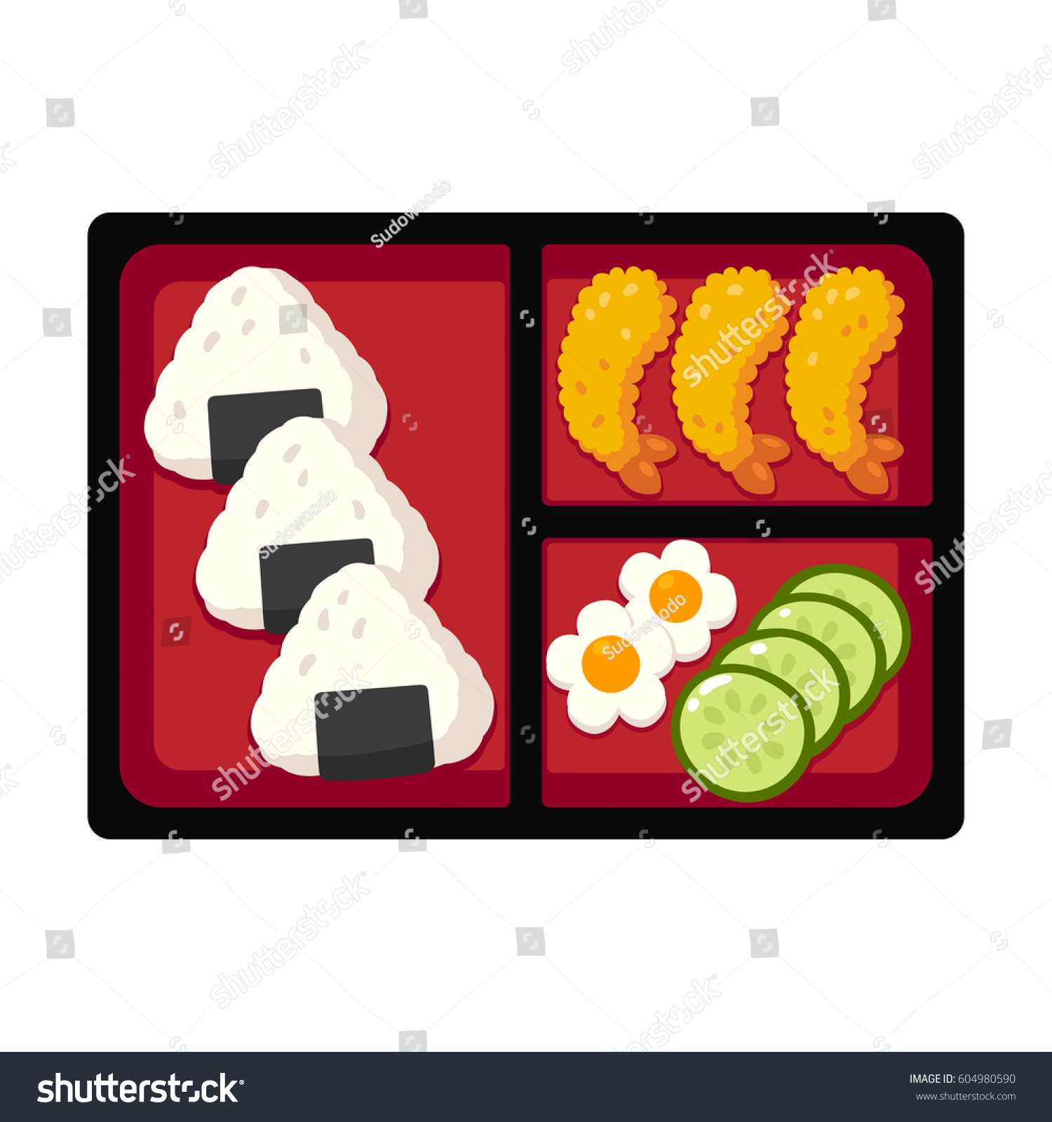 traditional japanese bento box lunch rice stock vector 604980590 shutterstock. Black Bedroom Furniture Sets. Home Design Ideas