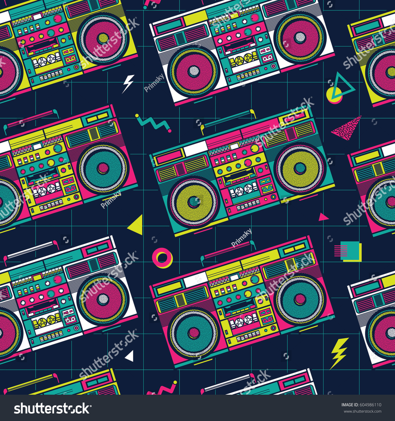 Retro Pop Eighties Boombox Radio Seamless Pattern 80s Background Wallpaper