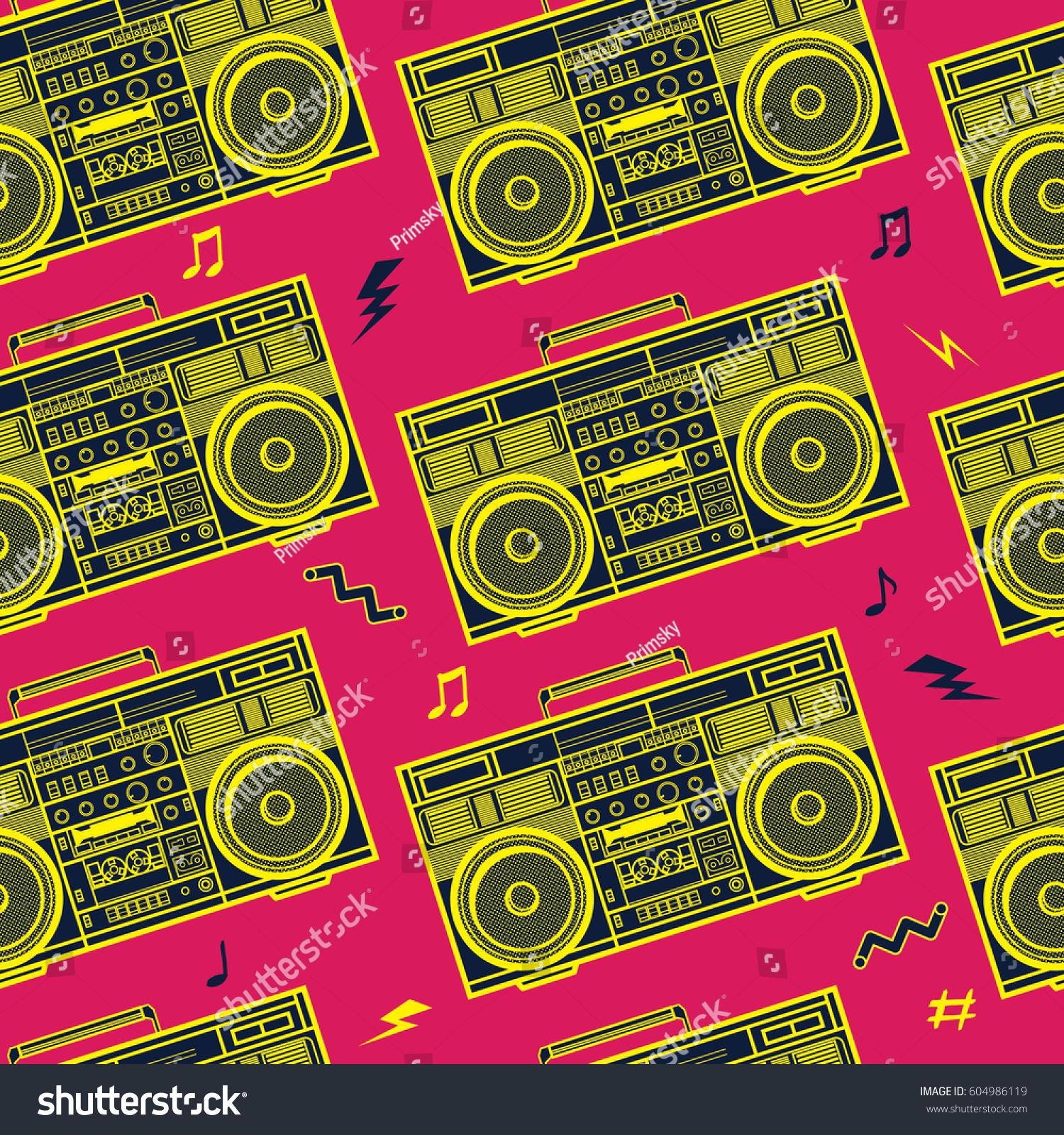 retro pop eighties boombox radio seamless stock vector royalty free