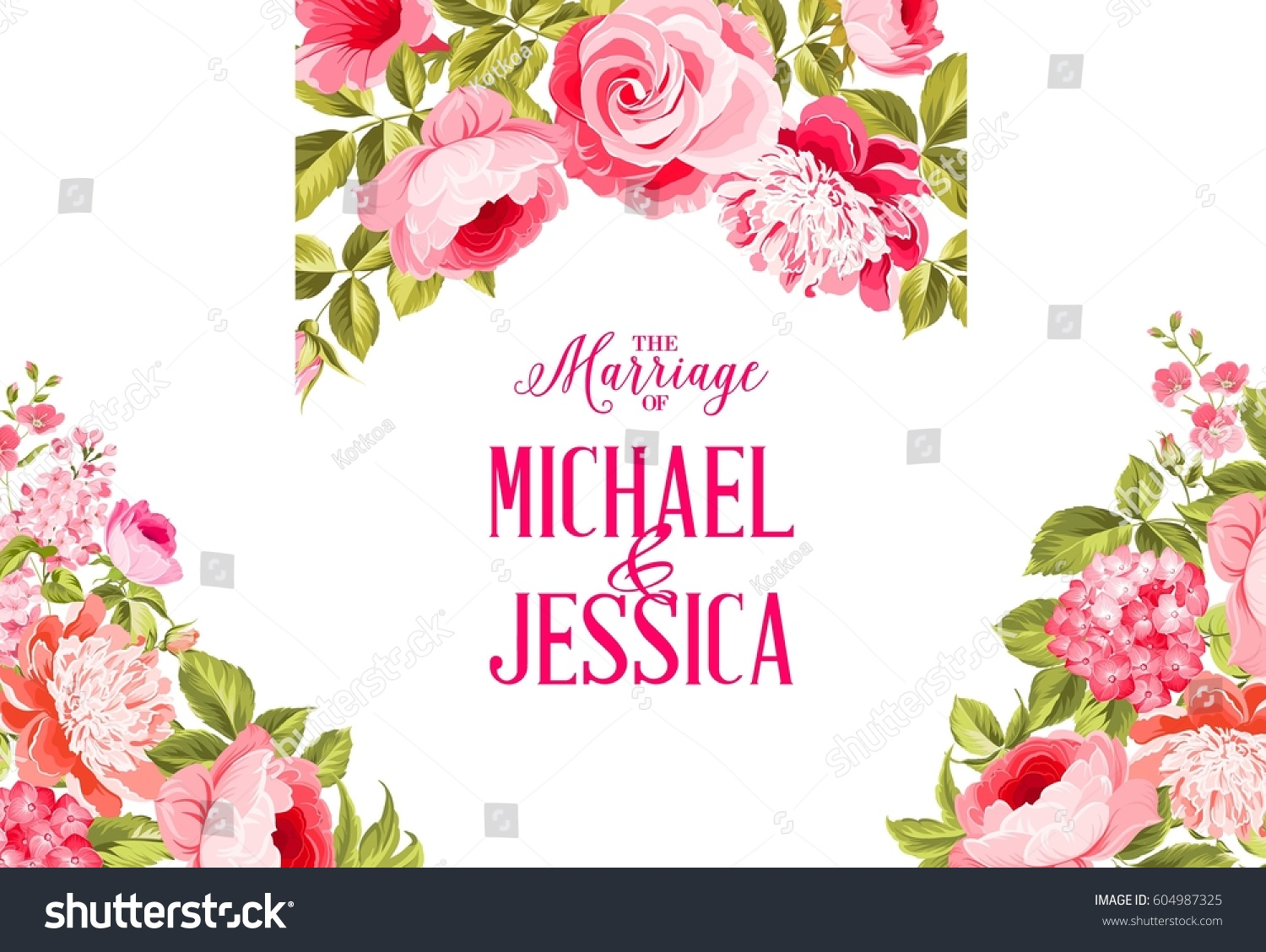 Marriage invitation card invitation card template stock marriage invitation card invitation card template with blooming flowers and custom text isolated over white kristyandbryce Gallery
