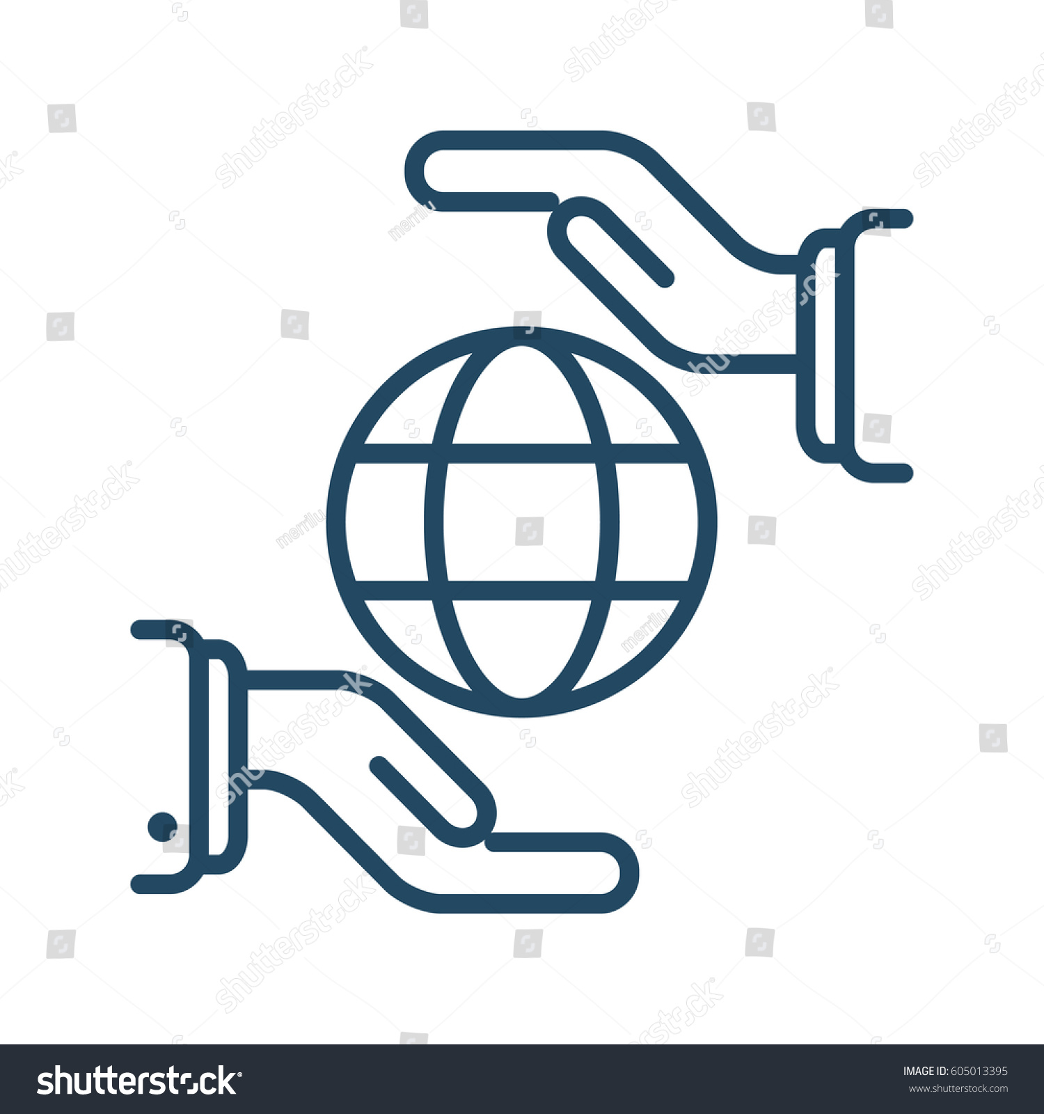 Globe between two hands vector icon stock vector 605013395 globe between two hands vector icon in meaning global protection buycottarizona Choice Image