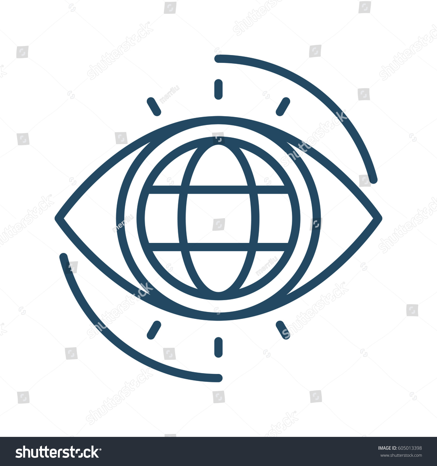 Globe Inside Eye Vector Icon Meaning Stock Vector Royalty Free