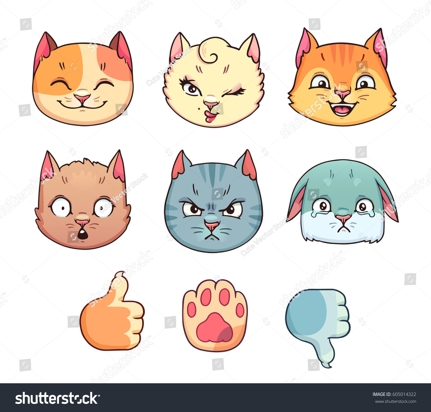 Set Cartoon Cat Faces Different Emotions Stock Vector Royalty Free