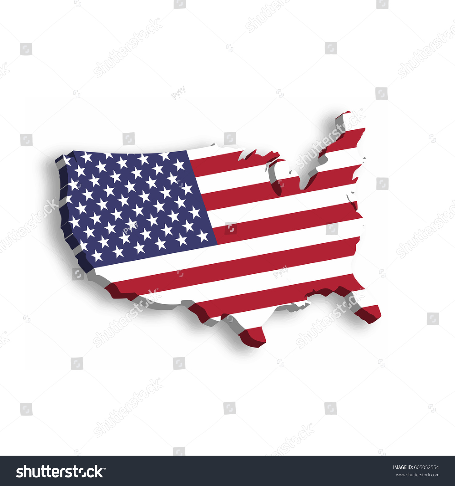 D Map Usa Aka United States Stock Vector Shutterstock - Pics of us map