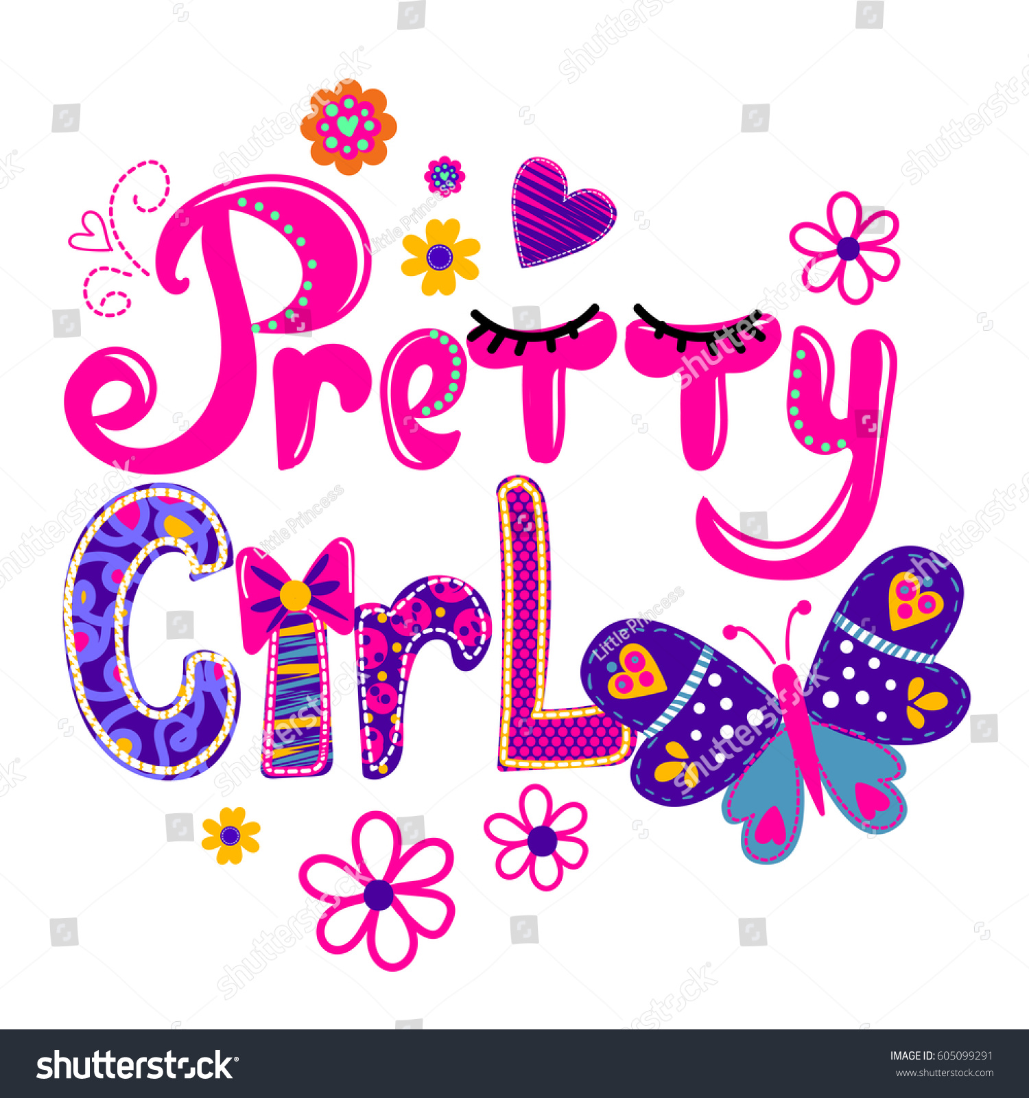T Shirt Design Girls Bright Colorful Stock Vector Royalty Free