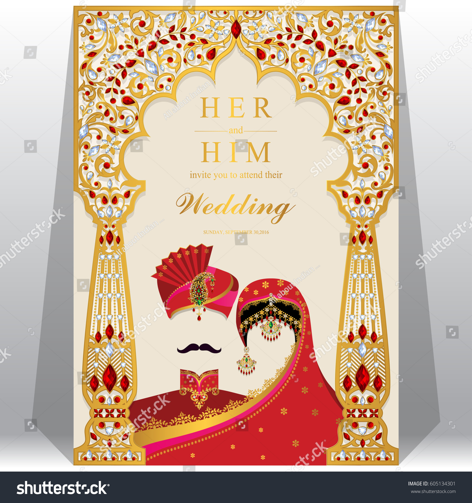 Indian Wedding Invitation Card Templates Gold Stock Vector (Royalty ...