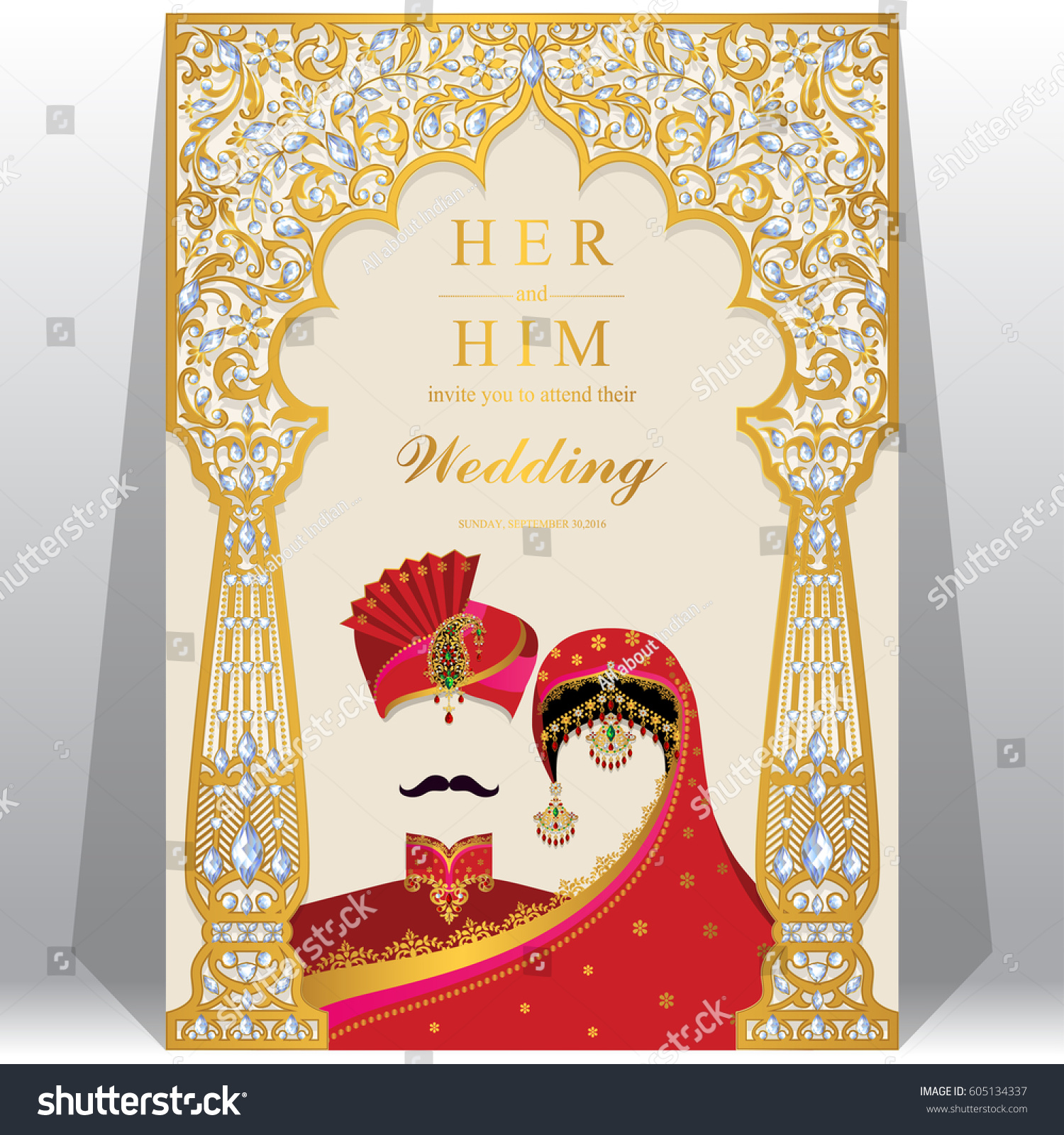 Indian Wedding Invitation Card Templates Gold Stock Vector 605134337 ...