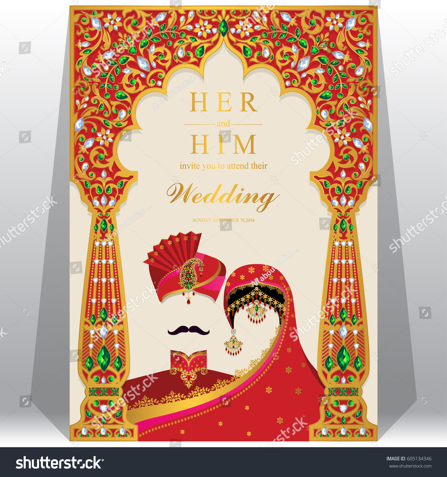 Indian Wedding Invitation Card Templates Gold Stock Vector 605134346 ...