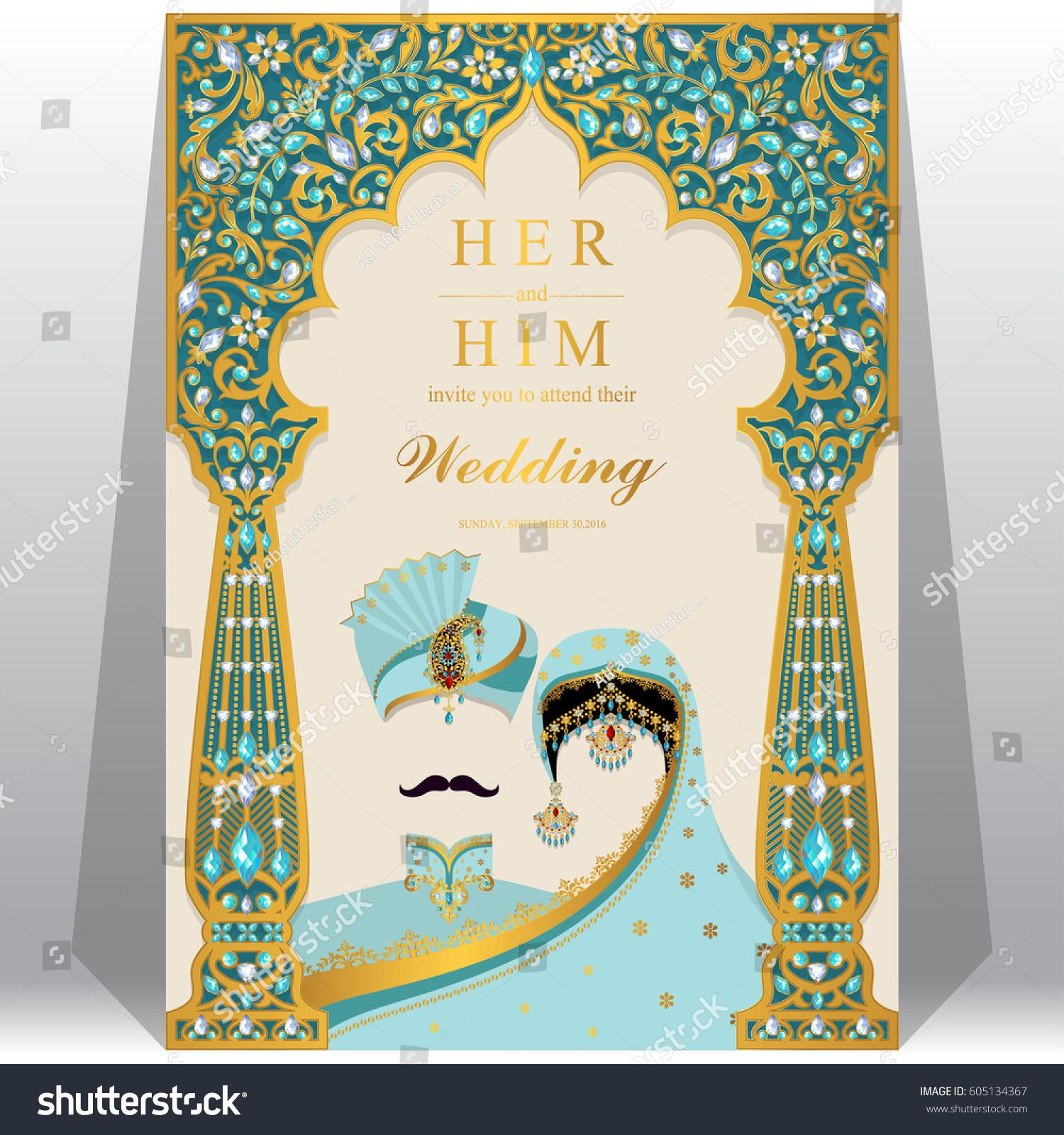 Indian Wedding Invitation Card Templates Gold Stock Vector 605134367 ...
