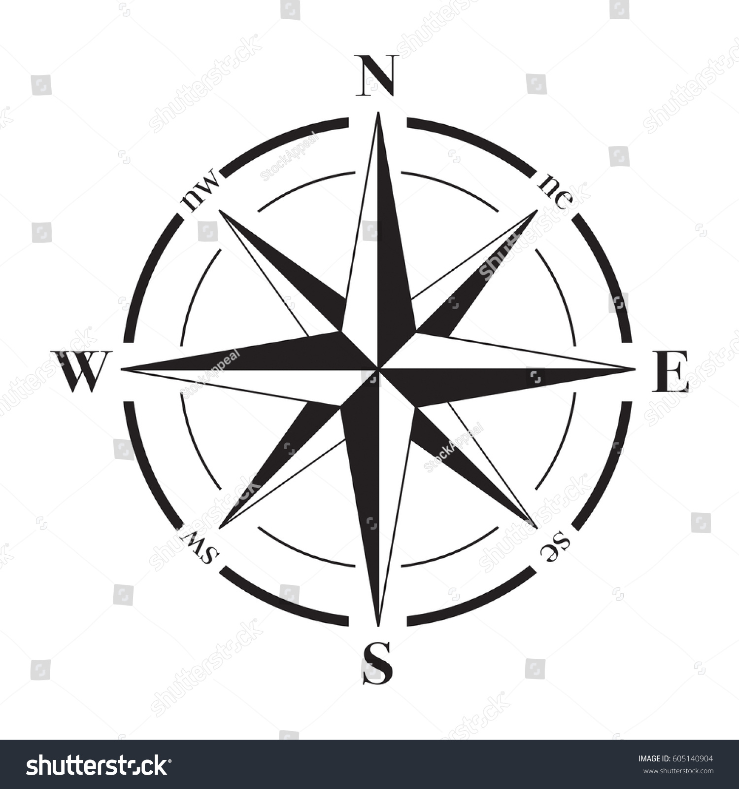 vector compass rose north south east stock vector royalty free