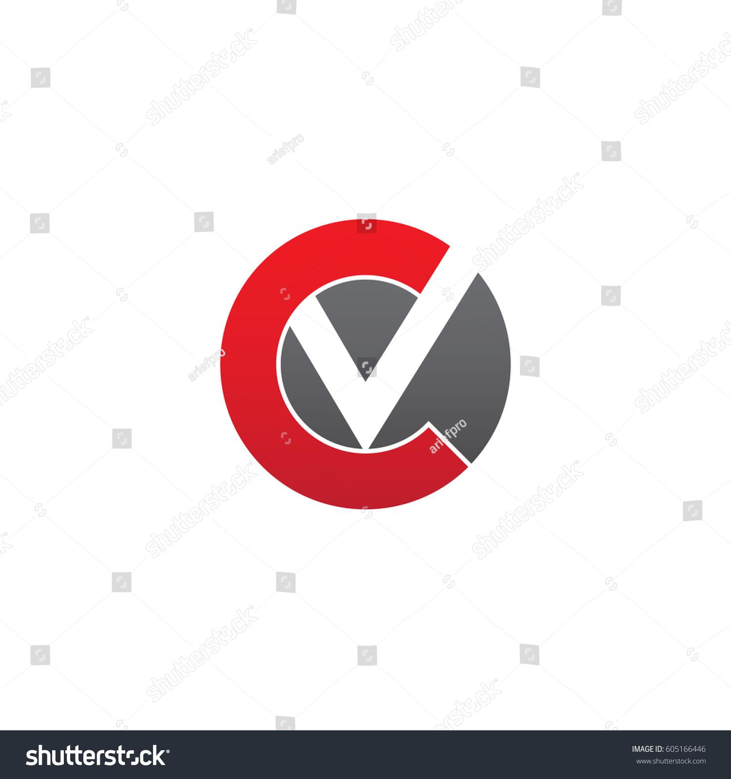 initial logo cv vc v inside stock vector 605166446