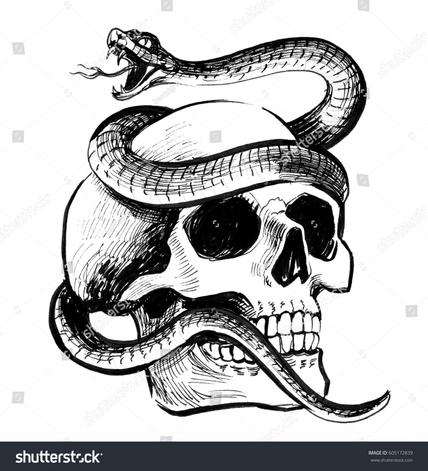 Skull snake stock illustration 605172839 shutterstock skull and snake thecheapjerseys Choice Image