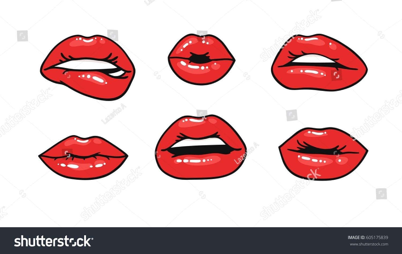 Femme Fatale Lips Illustration Pop Art Stock-Vektorgrafik ...