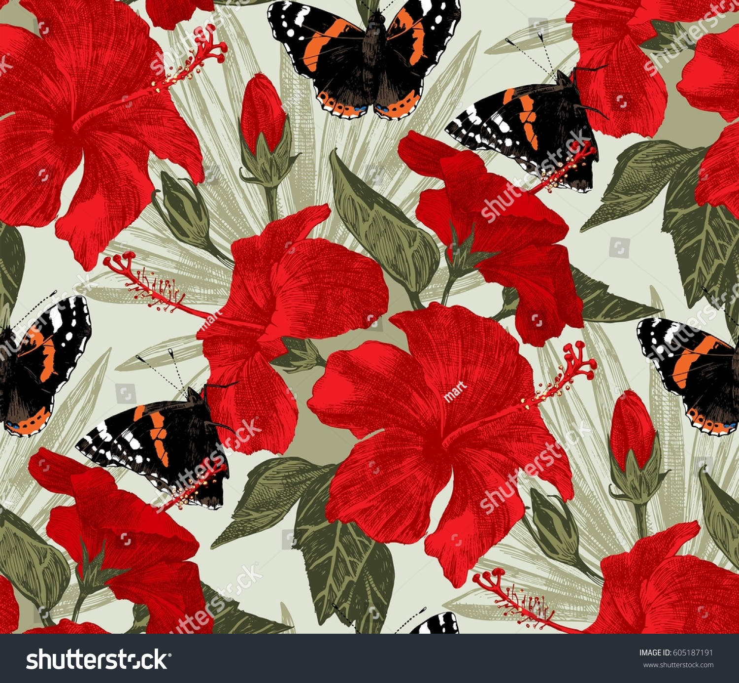 Tropical seamless pattern hand drawn hibiscus stock vector 605187191 tropical seamless pattern with hand drawn hibiscus flowers butterflies and palm leaves izmirmasajfo