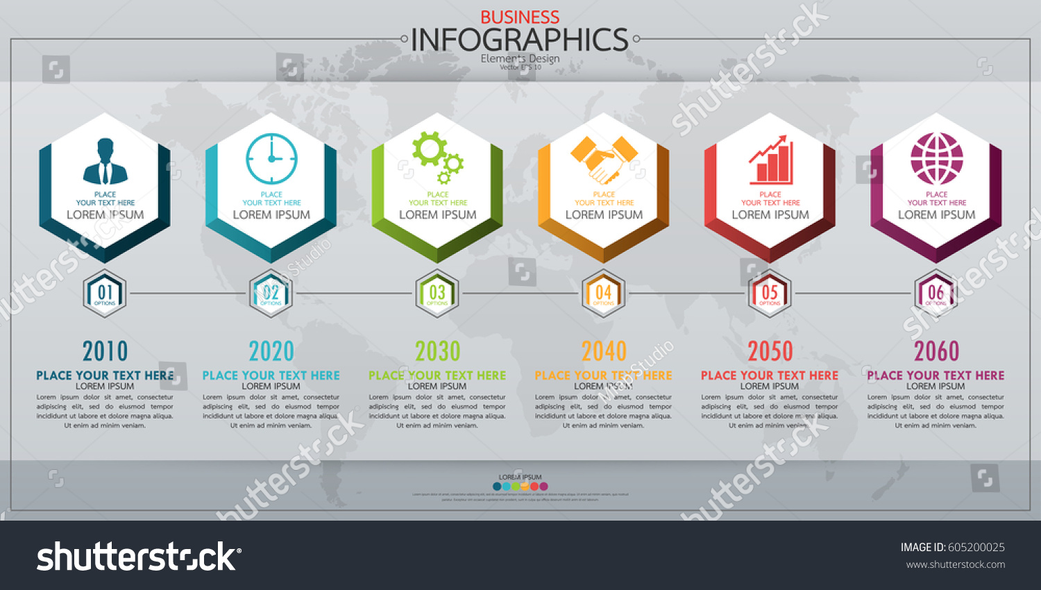 Infographic Business Horizontal Timeline Process Chart Stock Vector ...