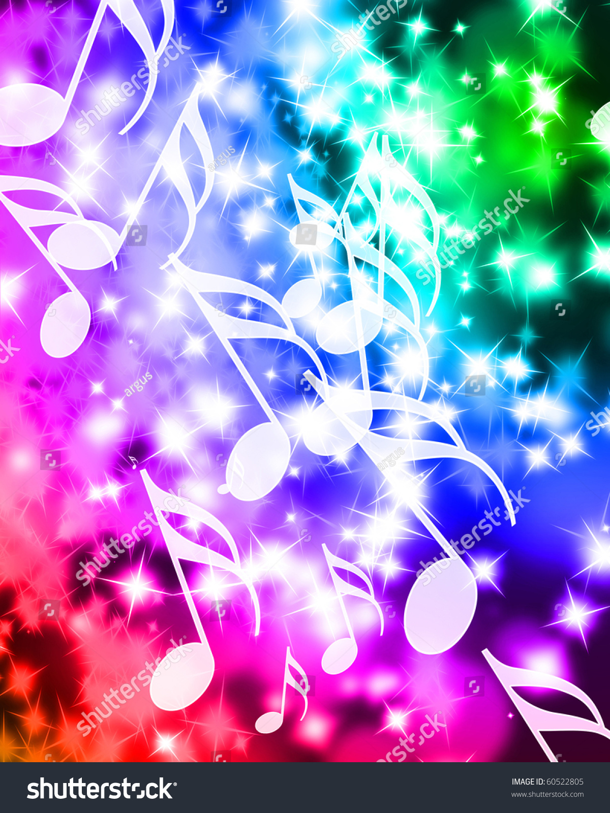Colorful Music Notes On A Beautiful Rainbow Background ...