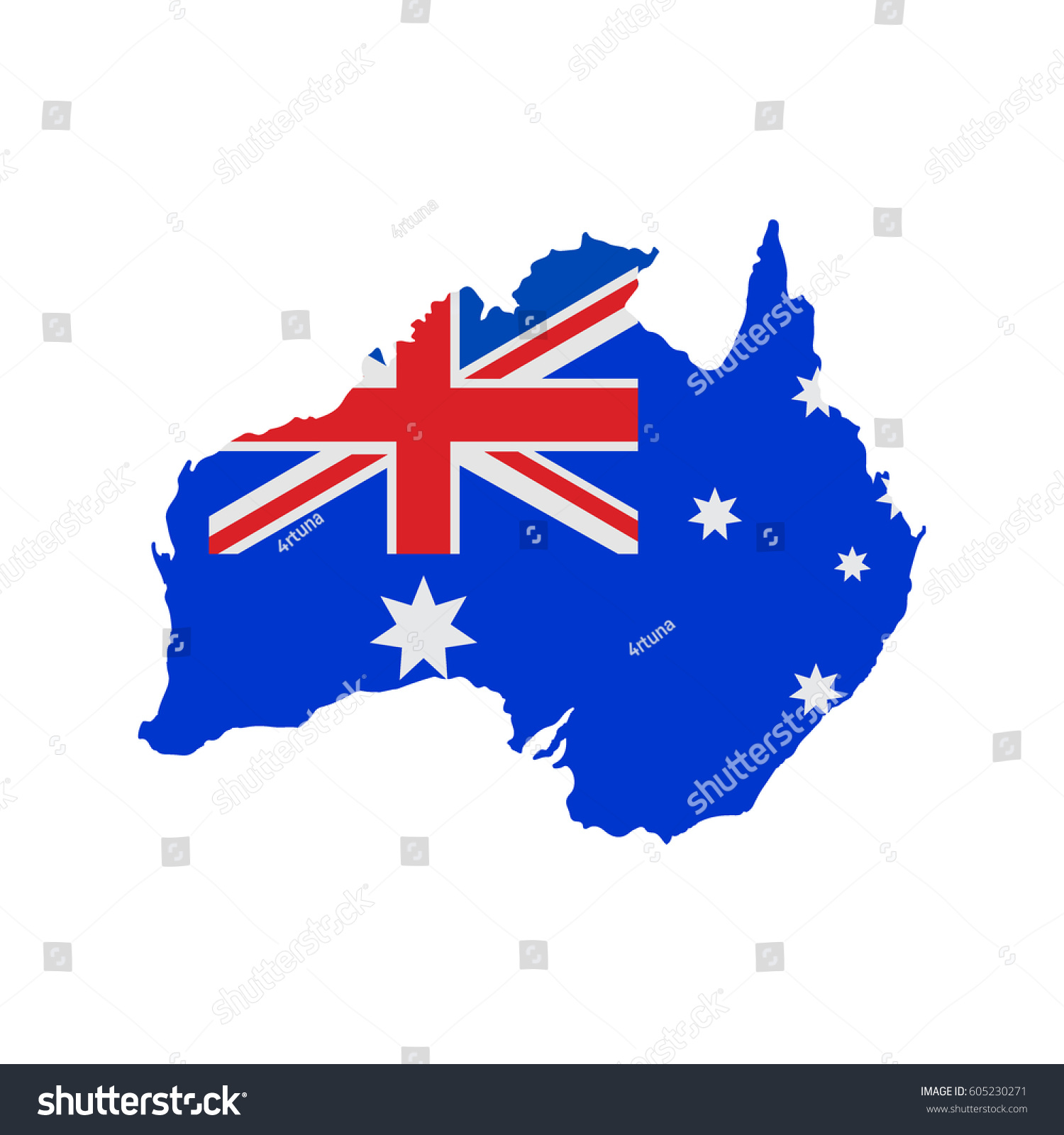 map australia australian flag colors stock vector 605230271