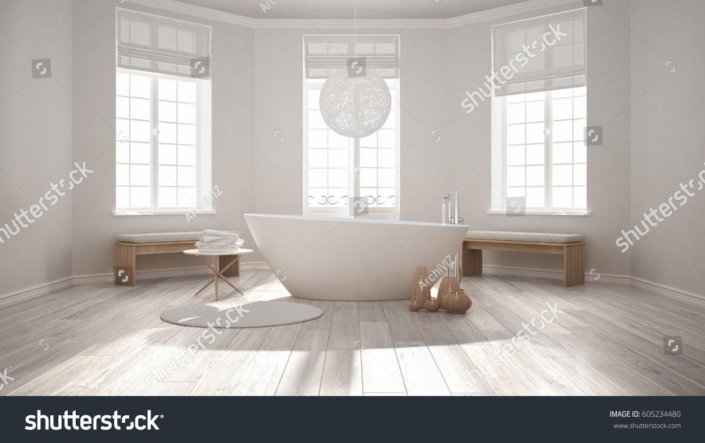 Zen Classic Spa Bathroom Bathtub Minimalist Stock Illustration ...