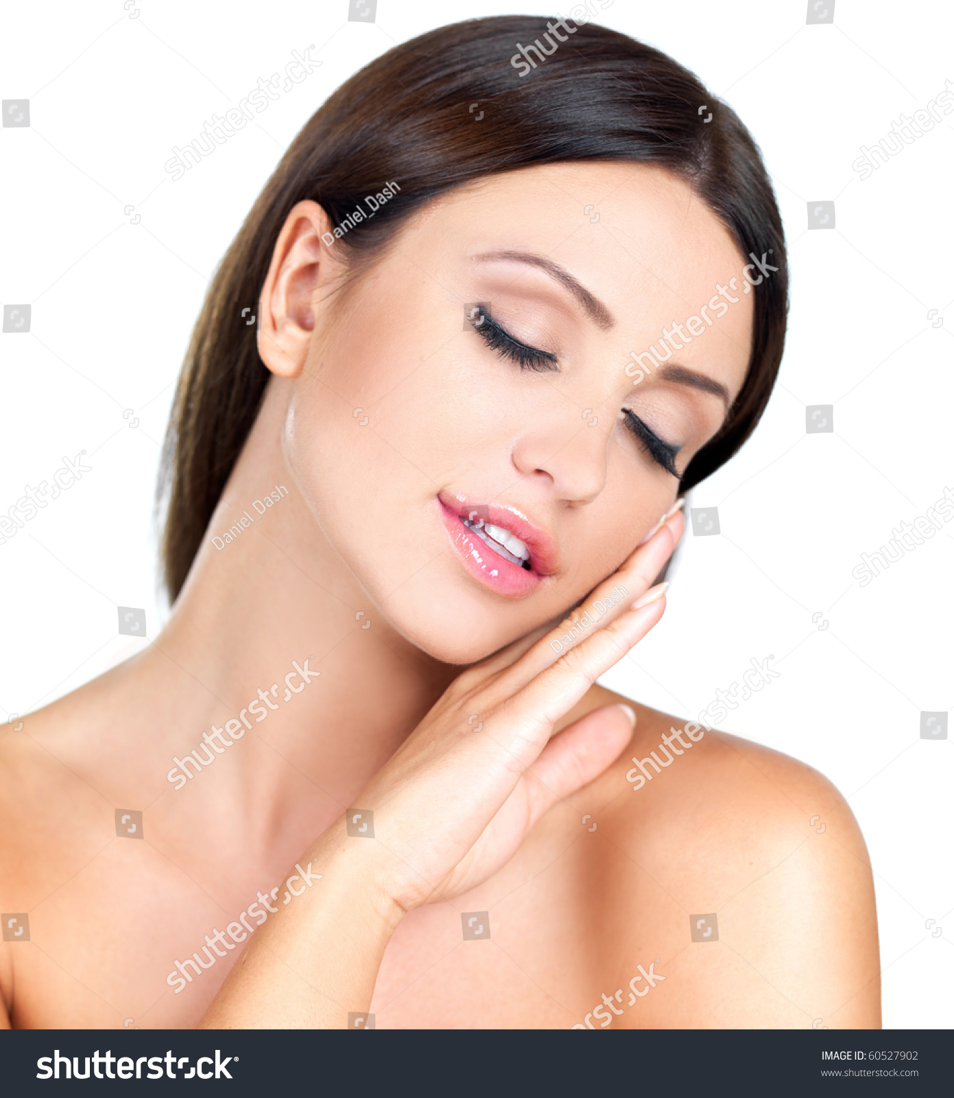 Portrait Of Beautiful Woman With Eyes Closed Stock Photo