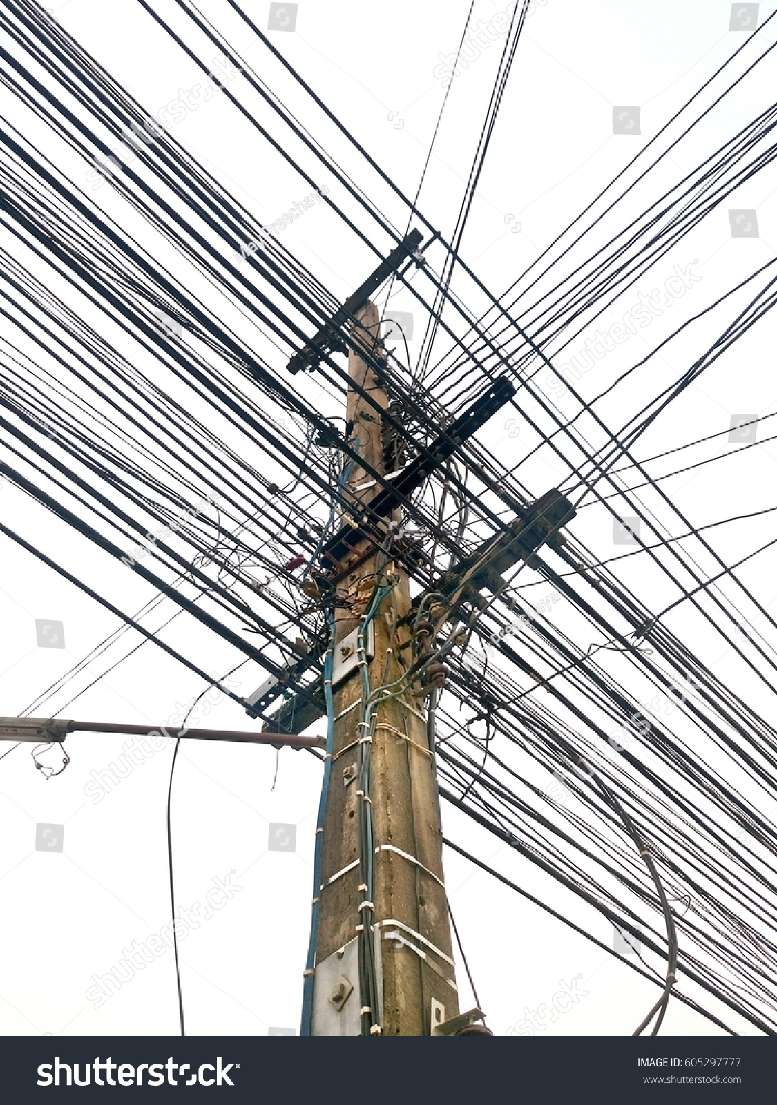 Thailand Very Messy Wires Dangerous Electrical Stock Photo Edit Now Wiring With Transformer And Power Lines On Electric Pole