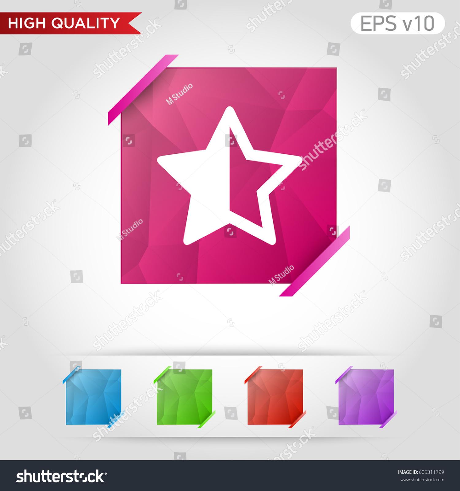 Colored Icon Button Half Star Symbol Stock Vector 605311799