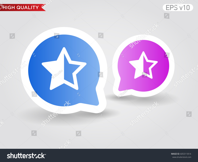 Colored icon button half star symbol stock vector 605311814 colored icon or button of half star symbol with background biocorpaavc