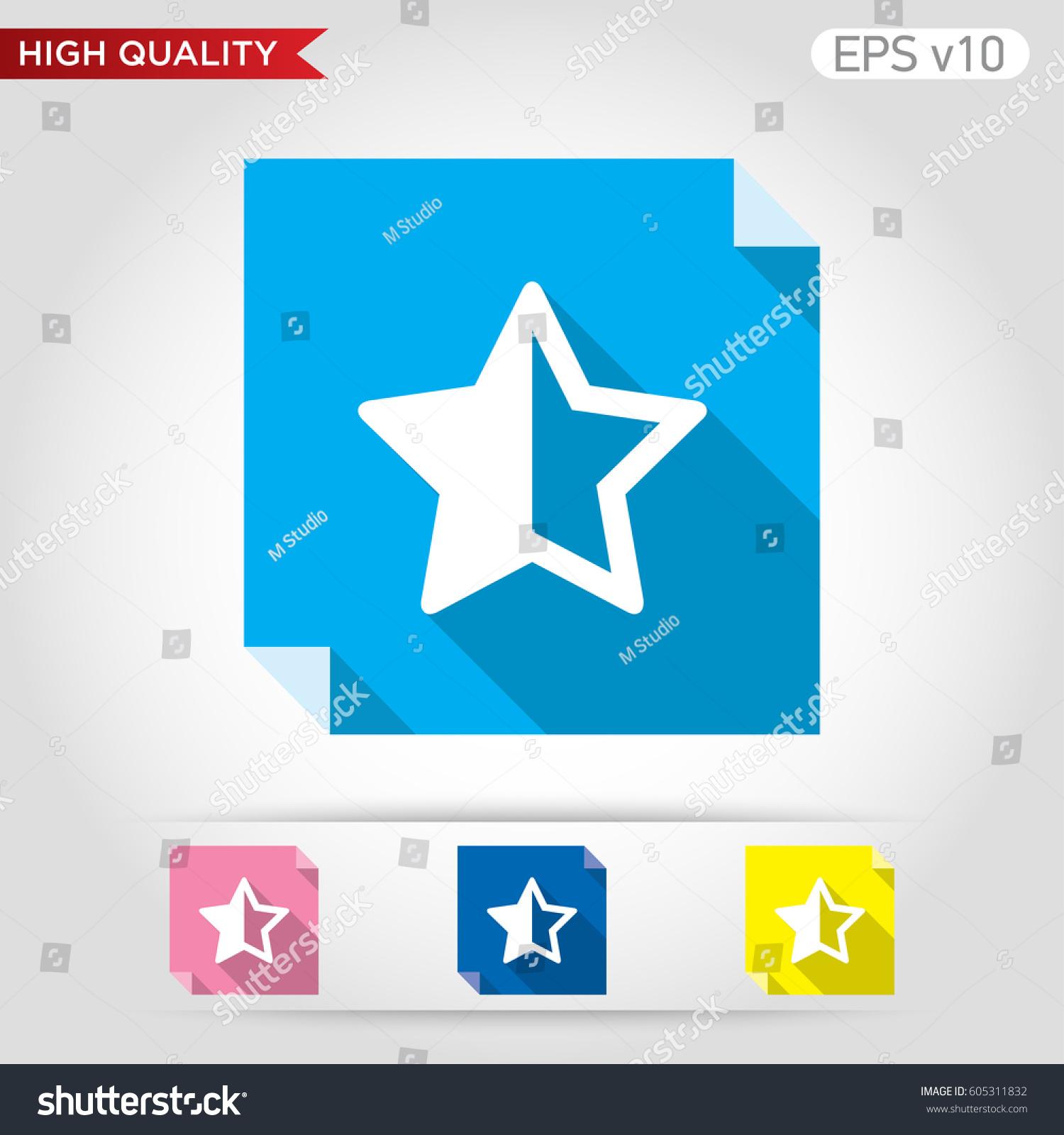 Colored Icon Button Half Star Symbol Stock Vector 605311832