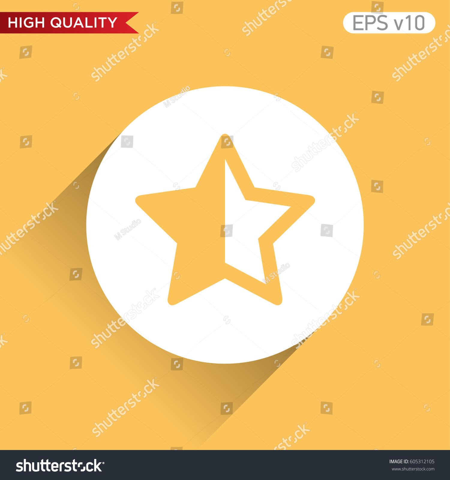 Colored Icon Button Half Star Symbol Stock Vector Royalty Free