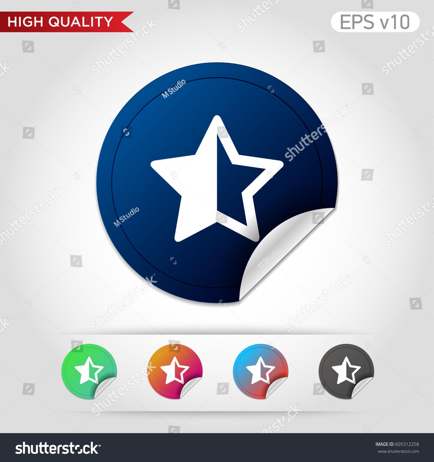 Colored icon button half star symbol stock vector 605312258 colored icon or button of half star symbol with background biocorpaavc