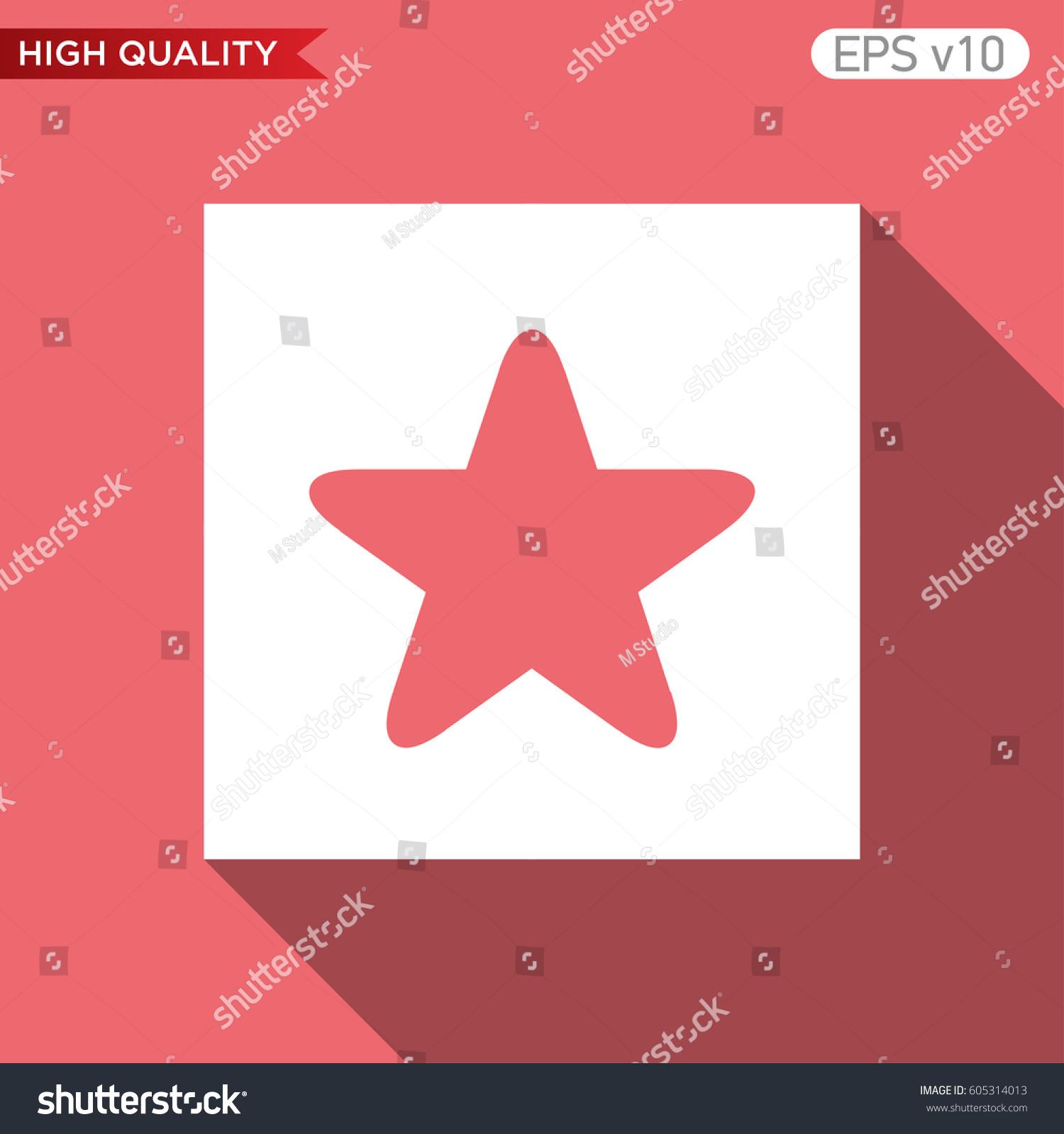 Colored Icon Button Half Star Symbol Stock Vector 605314013