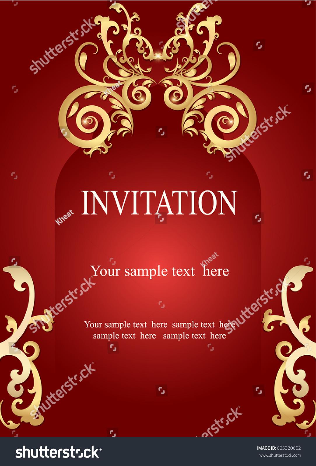 Invitation Card Wedding Card Golden Ornamental Stock Vector (Royalty ...
