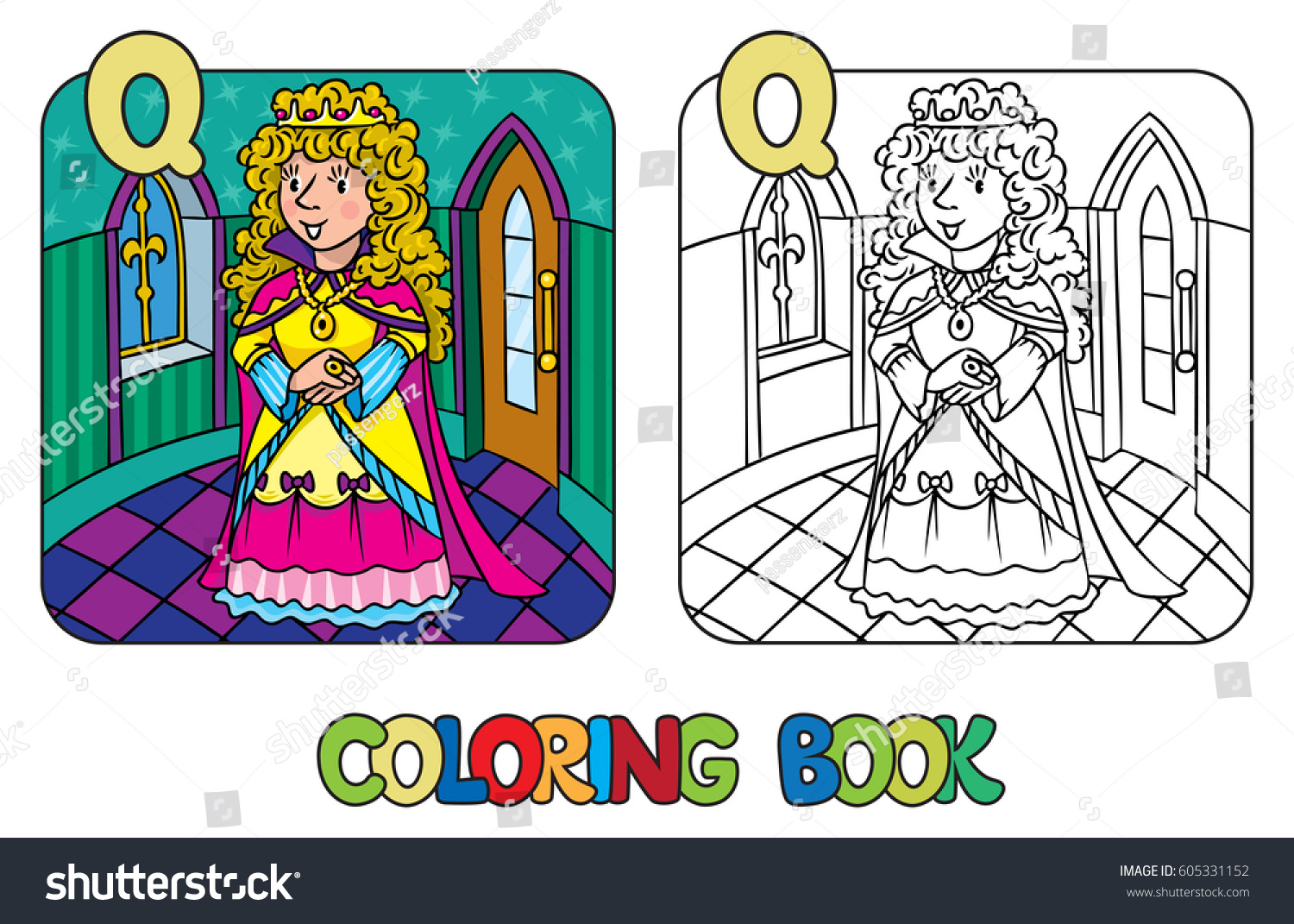Coloring book princess crowns - Coloring Book Or Coloring Picture Of Queen Or Princess In Medieval Dress The Crown And