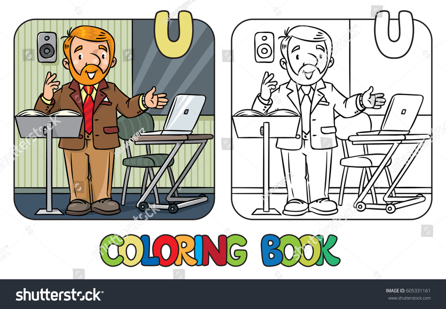 Coloring Book Of Funny University Lecturer A Man With Beard Is Giving Lecture