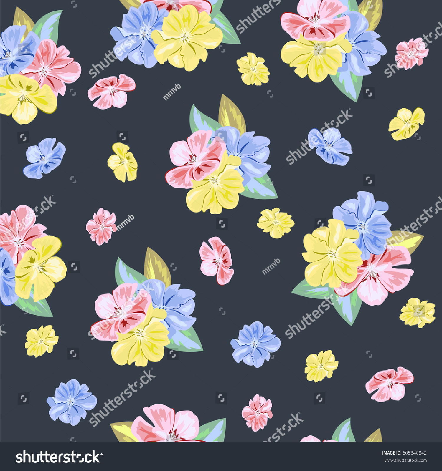 Vintage Seamless Pattern With Cute Pink Yellow And Blue Flowers