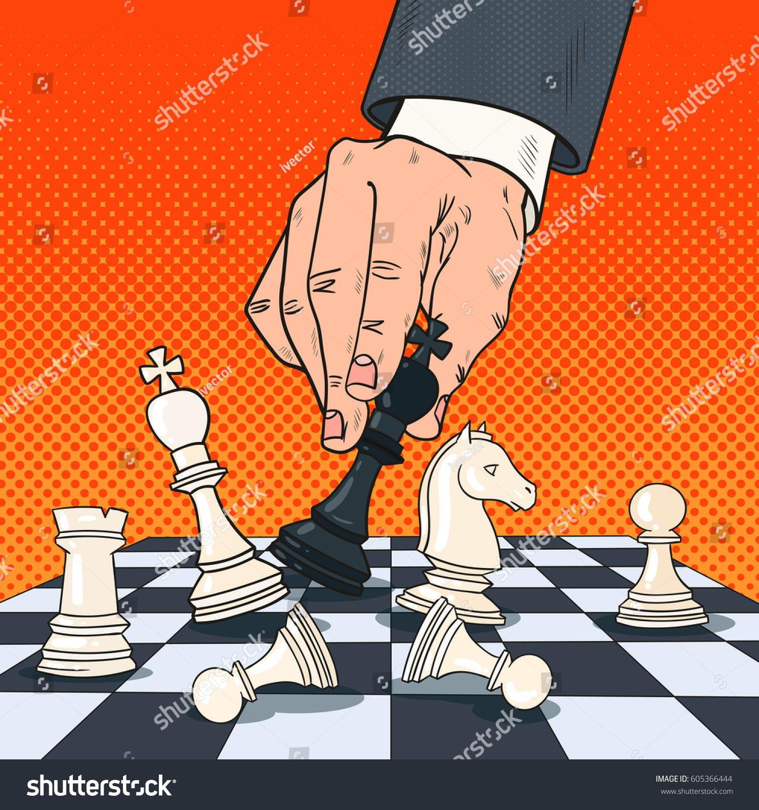 Technology Management Image: Pop Art Hand Businessman Holding Chess Stock Vector