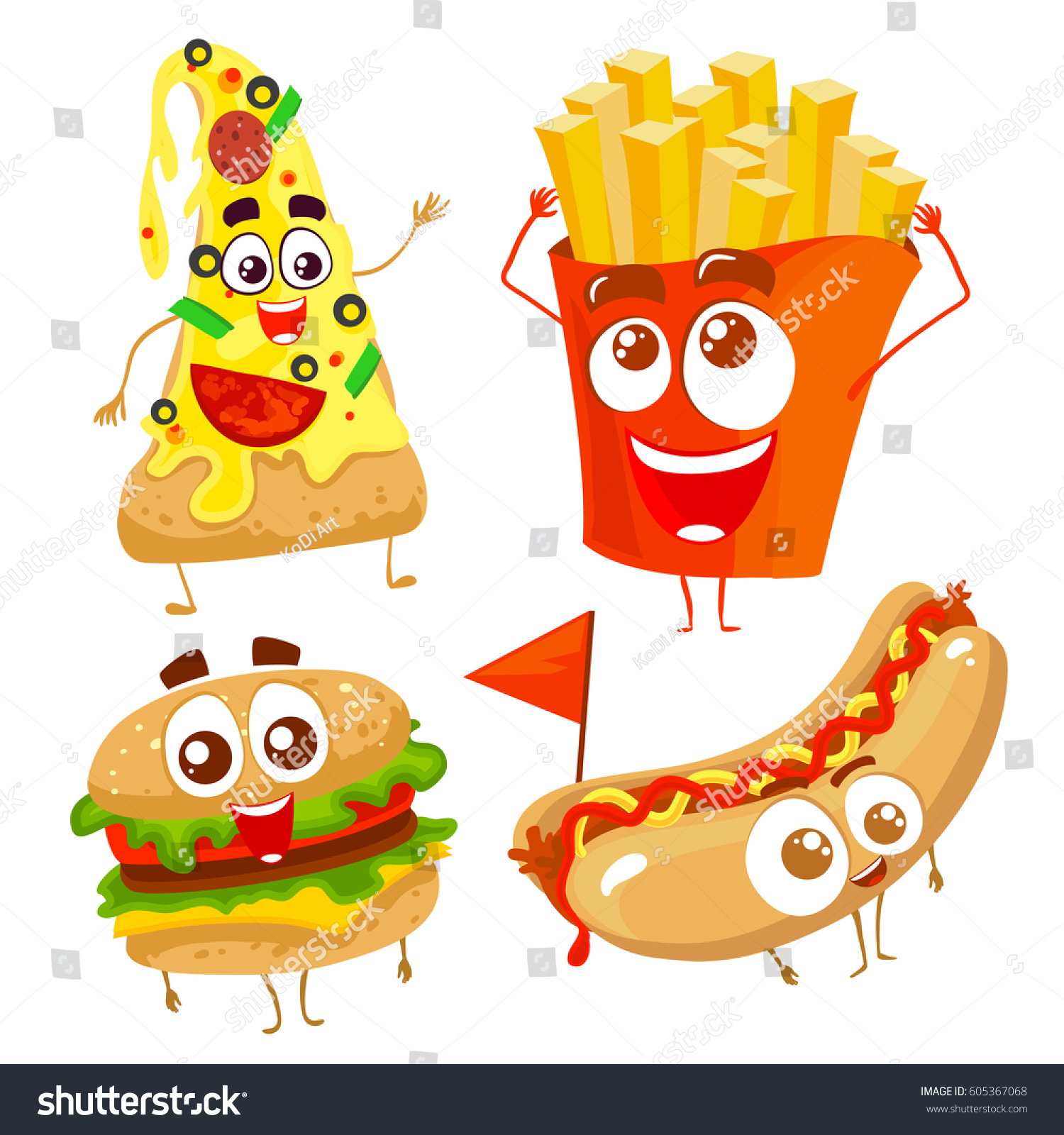 vector funny cartoon characters fast food stock vector 605367068