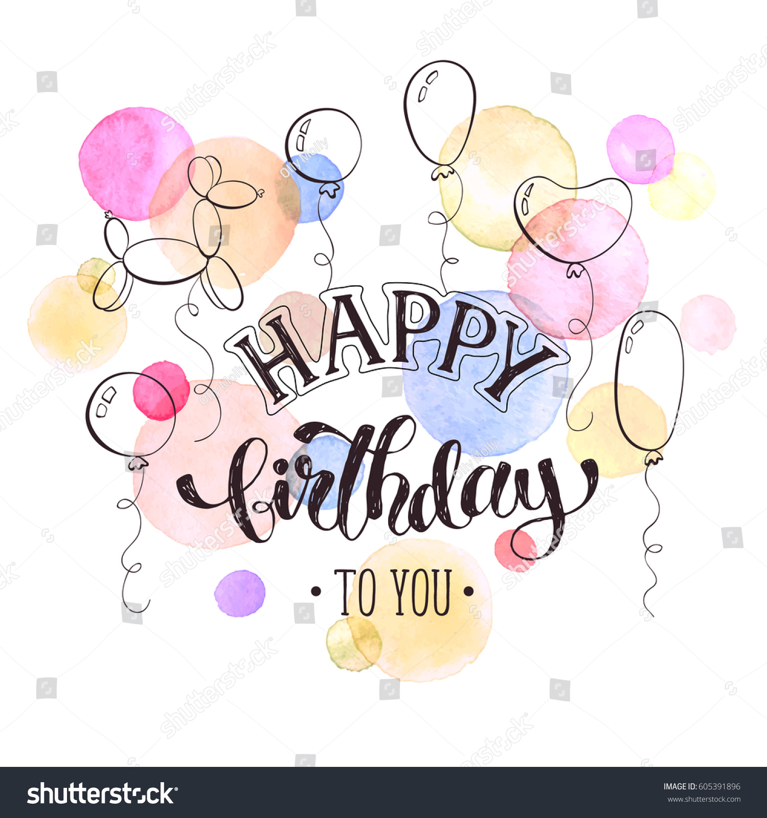 Happy Birthday Greeting Card Hand Drawn Vector 605391896 – Happy Birthday Greeting Text