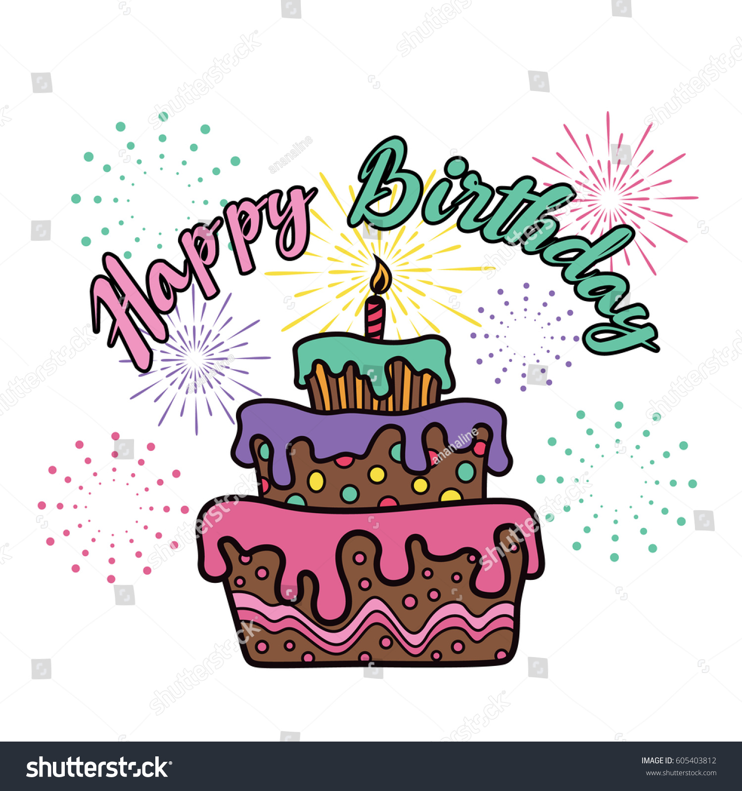 Happy Birthday Cake Firework Party Vector Stock Vector 605403812