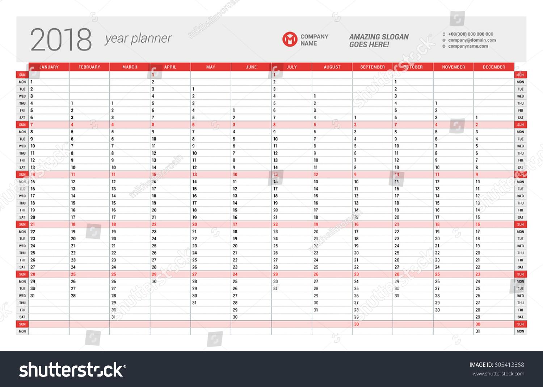 Calendar Planner Vector : Yearly wall calendar planner template stock vector