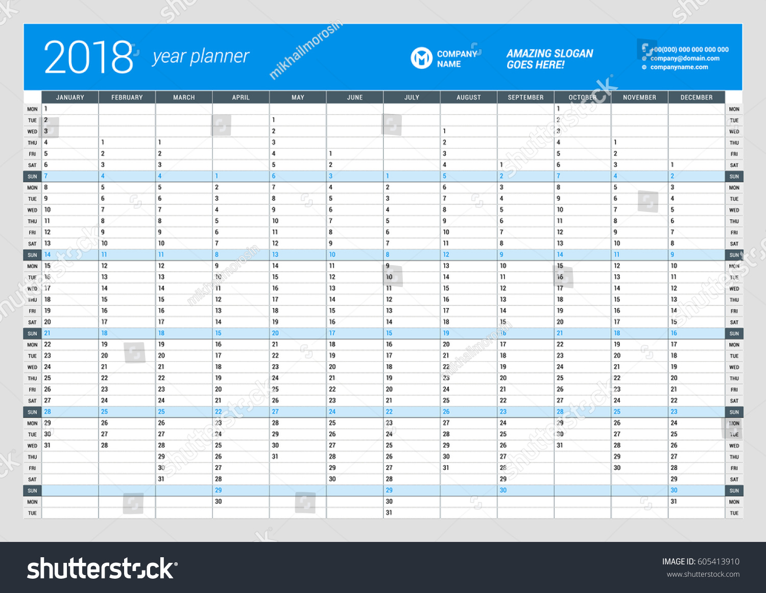 planner template 2018