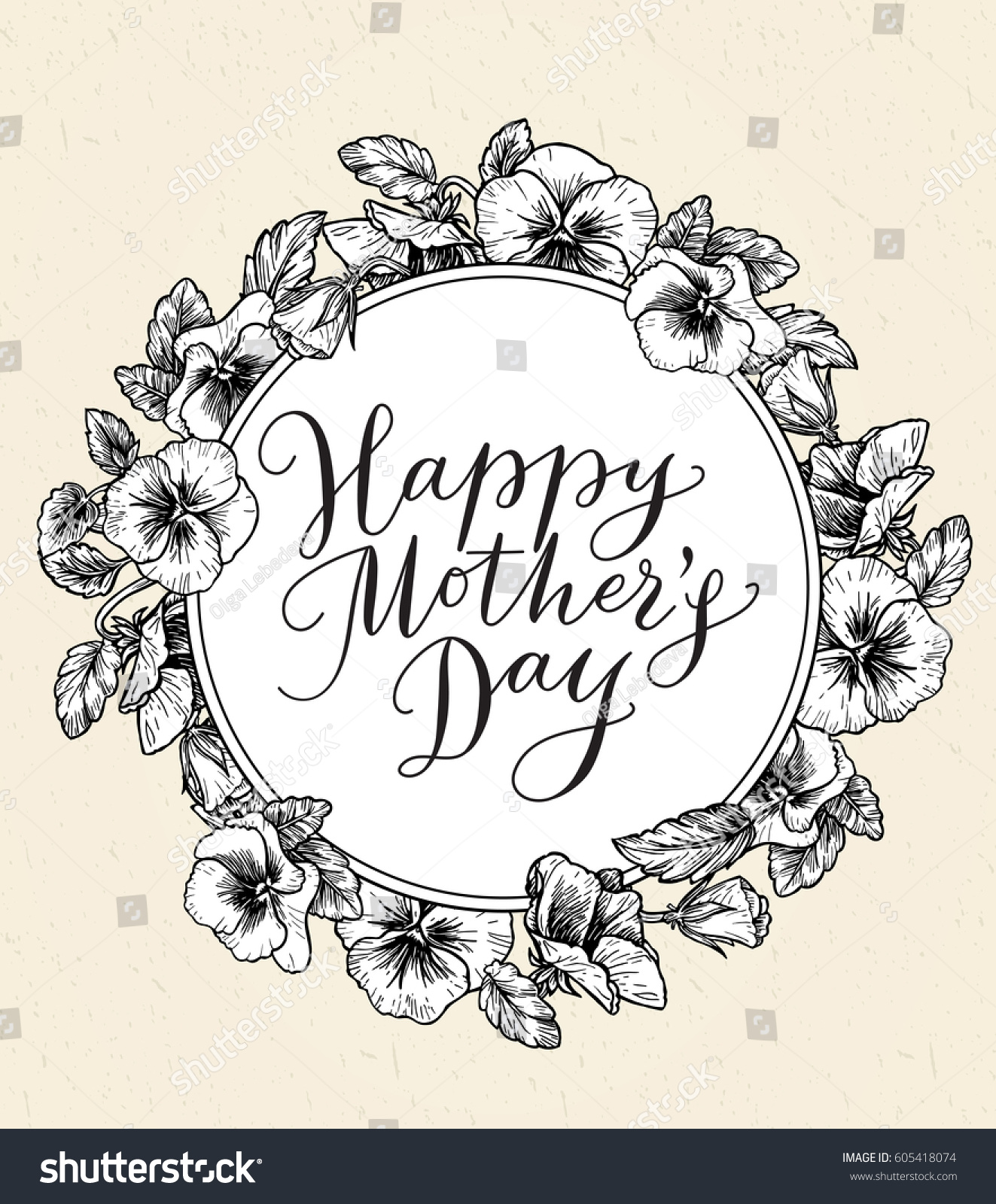 Happy mothers day card text frame stock vector