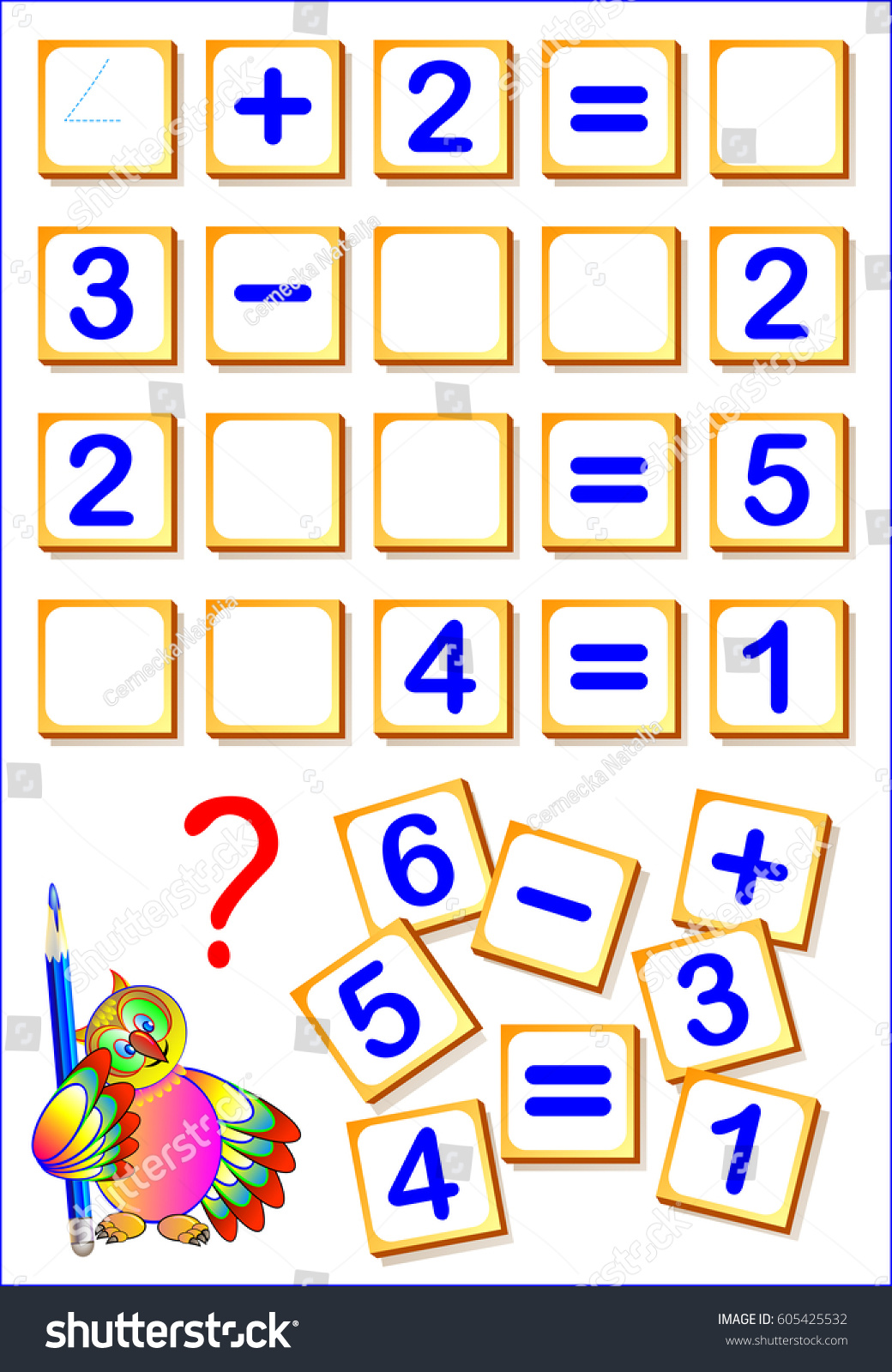 Logical Math Exercises Kids Need Find Stock Photo (Photo, Vector ...