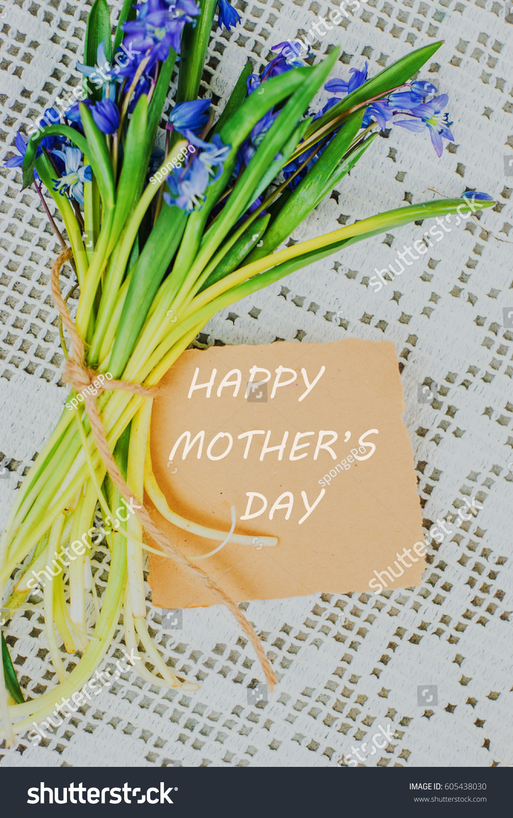 Happy mothers day text sign on stock photo 605438030 shutterstock happy mothers day text sign on stylish craft greeting card and scilla siberica on white rustic kristyandbryce Choice Image
