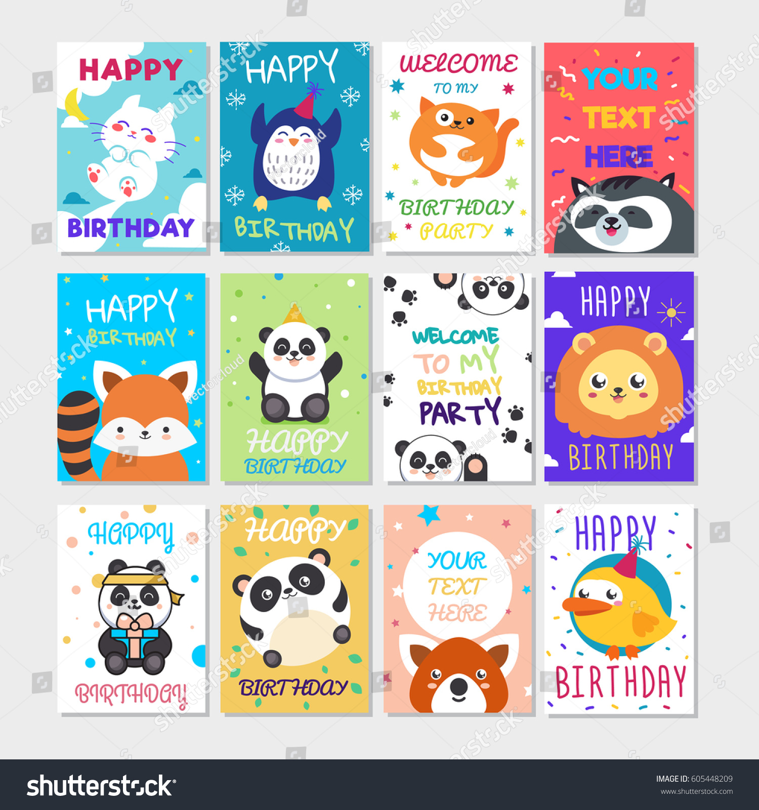 Set Cute Animals Poster Cute Happy Stock Vector Royalty Free