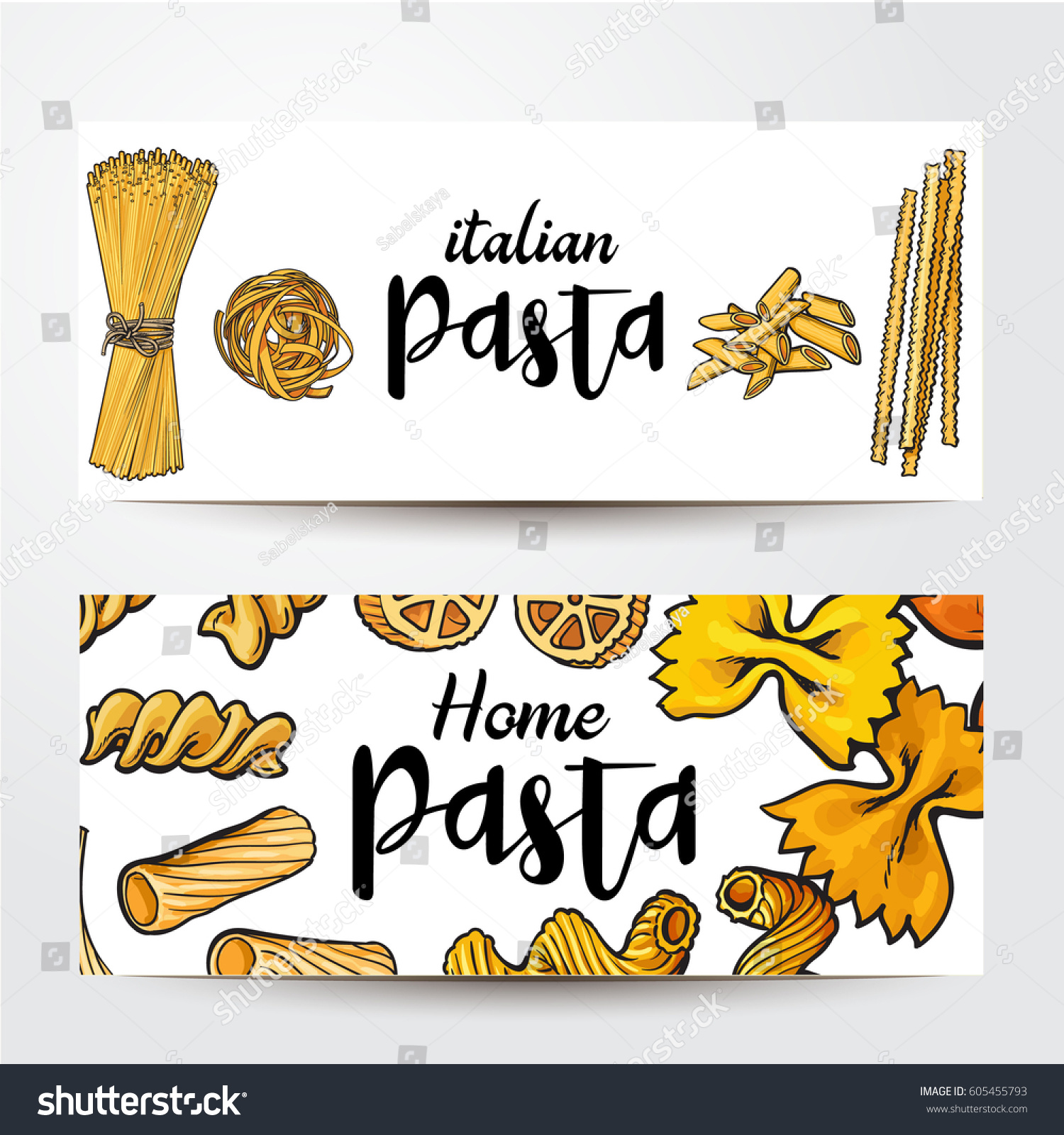Banners Uncooked Italian Pasta Place Text Stock Vector Royalty Free