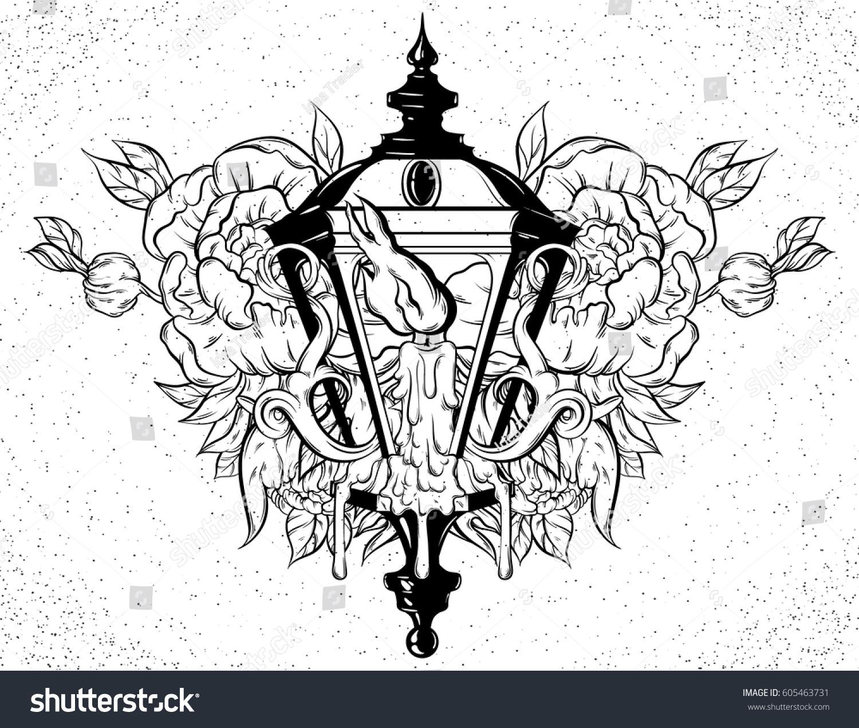 Vector Hand Drawn Illustration Lantern Melting Stock Vector (Royalty ...