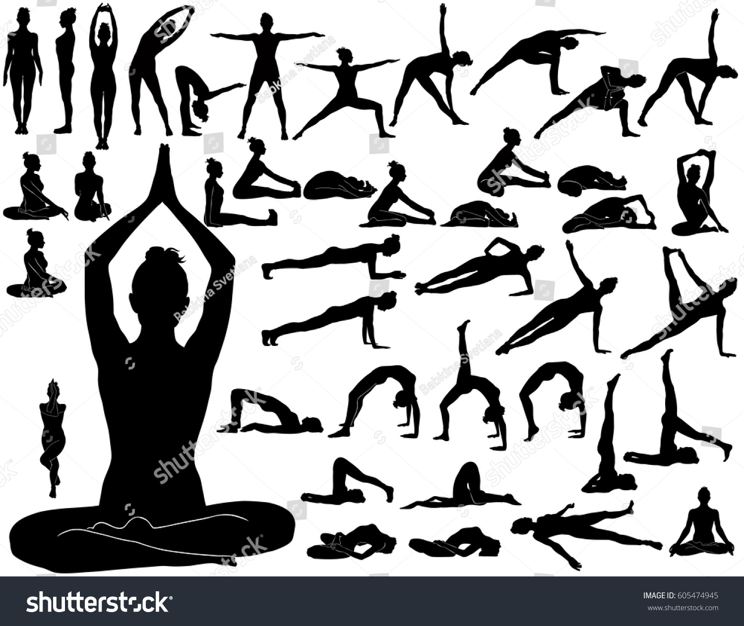 Silhouettes Woman Doing Yoga Exercises Icons Stock Vector -8286