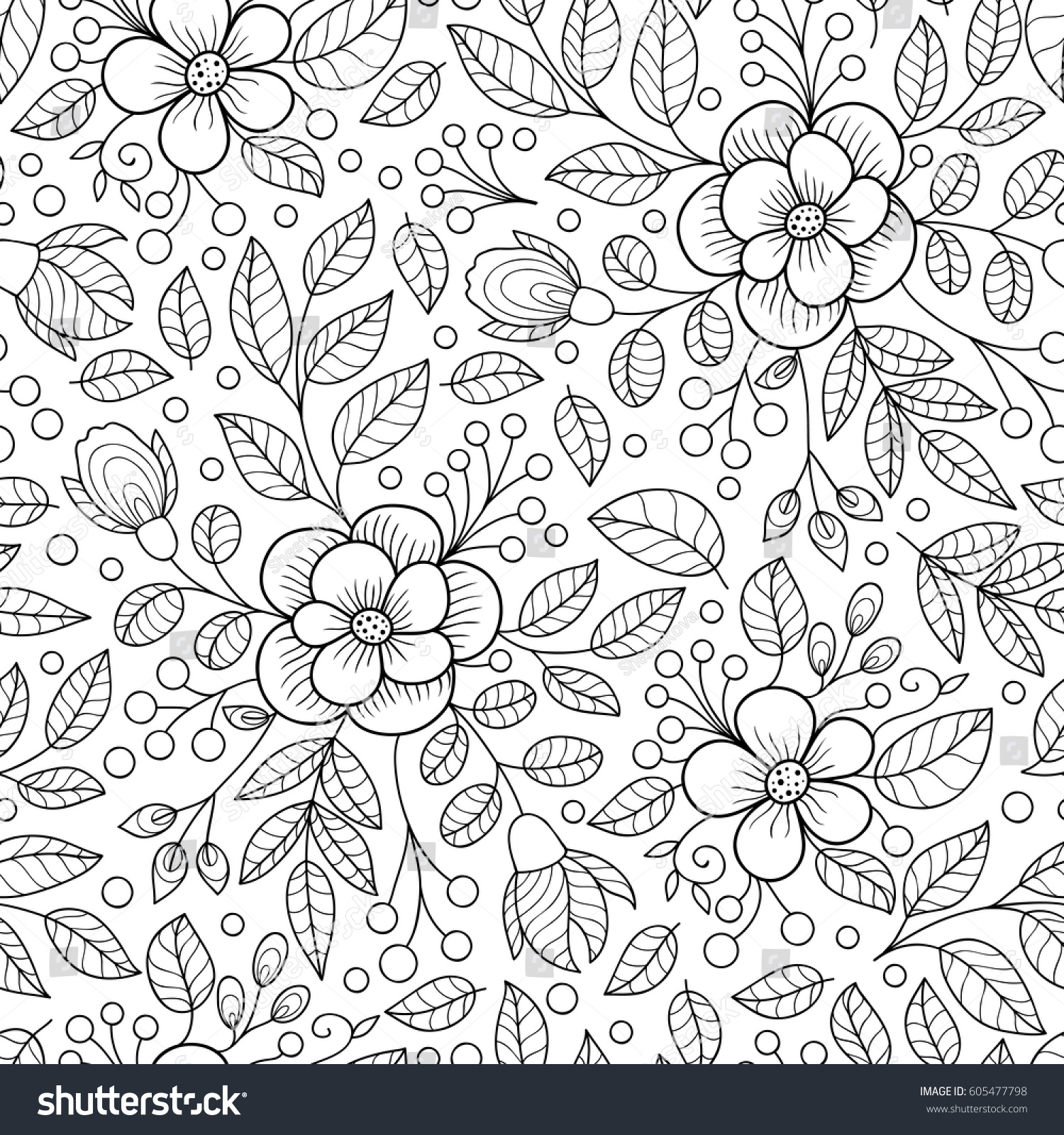 Floral black white seamless pattern monochrome stock vector floral black and white seamless pattern monochrome flower print mightylinksfo